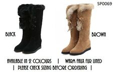 Womens Ladies Knee High Mid Calf Suede Faux Fur Lined Wedge Winter Snow Boots