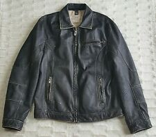GUESS Men's Black Distressed Leather Jacket Medium Motorcycle Bomber