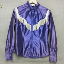 S3237 H Bar C Women's Size 34 Purple Pearlsnap Long Sleeve Shirt Tassles
