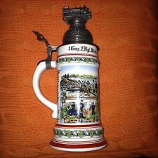 GERMAN REGIMENTAL MILITARY PORCELAIN BEER STEIN W/ LID & LITHOPANE