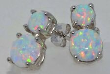 Opal Double Rounds Stud Earrings .925 Sterling Silver