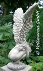 ENGEL SKULPTUR STEINGUSS ANTIK Gartendekoration Figur massiv frostfest 71cm hoch