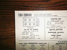 1964 Chevrolet Corvair Turbo Air 164 CI Engine SUN Tune Up Chart Great Shape!
