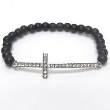 New Side Cross Stretch Beaded Bracelet Black Clear Crystals