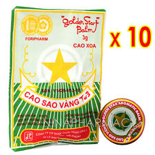 10 Boxes x 3g Golden Star Aromatic Balm - Vietnamese Cao Sao Vang Ointment 3g