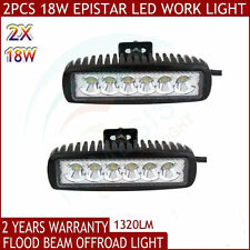 2X 6INCH 18W LED WORK LIGHT BAR FLOOD BEAM OFFROAD DRIVING FOG 4WD LAMP UTE SUV8