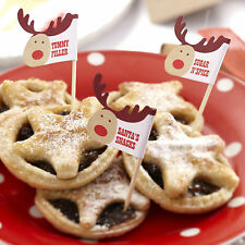 20 Christmas MINCE PIE STICKS FOOD FLAGS Rocking Rudolf Xmas Eve Night Santa