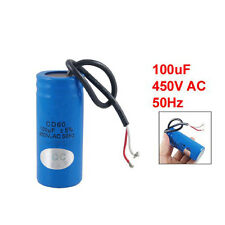 100uF 450V AC CD60 2 Black Wire Lead Motor Start Run Capacitor SY
