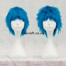 Short layered fluffy spikeable cosplay wig, peacock blue, UK seller, Jack style