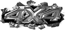 "4x4 Truck Decals Ripped Torn Metal Look in Silver 14"" REFLECTIVE 33"