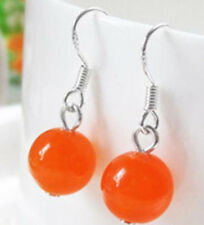 charm Fashion 10mm Orang Jade Round Bead  Silver Hook Earrings