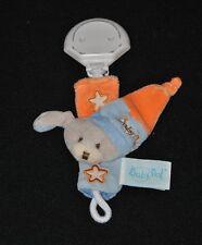 Peluche doudou chien BABY NAT' clip accroche attache plastique étoile TTBE