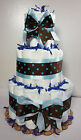 3 Tier Diaper Cake Boy Baby Shower Centerpiece Blue & Brown Size 1 & 2 Diapers
