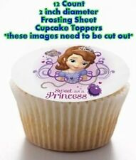 12 SOFIA THE FIRST PRINCESS Edible  Cupcake Toppers 2 INCH DIAMETER CIRCLES