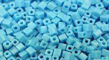 100 MIYUKI CUBE BEADS OPAQUE LT BLUE 4MM