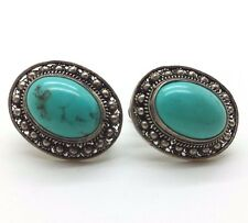 Chinese Export Oval Turquoise Screw Back Sterling Silver 925 Earrings 9g BCE381