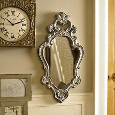 Grey wood ornate wall mirror shabby french chic bedroom vintage vanity hallway