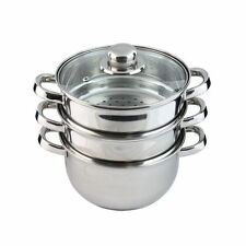 3 Tier Stainless Steel Steam Cooker Steamer Pan Cook Pot Set New Silver 20cm 3pc
