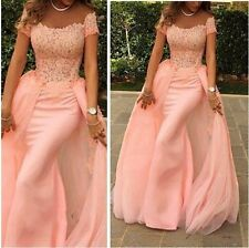 2016 Pink Beads Lace Evening Dress With Removable Train Prom Pageant Gown Custom