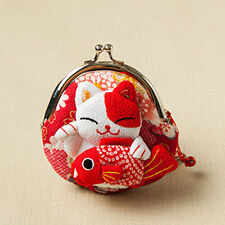 Japanese Silk cute Lucky Cat Maneki Neko Coin Change Wallet Purse Bag red gift