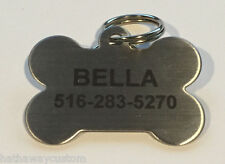 Custom Personalized Stainless Steel Bone Dog Tag Cat Tag Pet ID Name