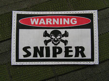 "Patch Velcro  "" WARNING - SNIPER ""  - pour tireur d'élite Airsoft bille 6 mm"