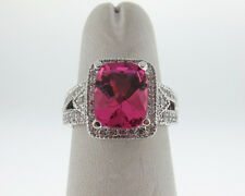Natural 3.00cts Pink Tourmaline Diamonds Solid 18k White Gold Large Halo Ring