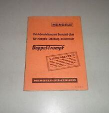 Betriebsanleitung / Teilekatalog Mengele Stalldung Heckstreuer Doppel-Trumpf