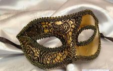 Mens Womens Brocade Lace Mardi Gras Venetian Masquerade Mask [Gold]