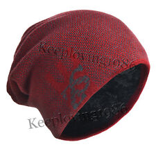 Men's knit Skull beanie chunky Cap thick fur snow winter hat New k-32