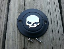 Black with Chrome Skull Timer Point Cover Harley all w/Horizontal Mount Holes