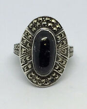 Vintage Sterling Black Onyx Solitaire Marcasite Ring - Size 6  6.6g  #840