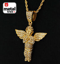 "Rapper 14k Gold Plated Stainless Steel Baby Angel Pendant 24"" Rope Chain 3002 G"