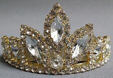 NEW Wedding Pageant Kids Girls Gold Clear oval stone Rhinestone Tiara Haircomb