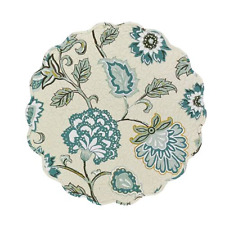 CARA Round Placemat by Park Designs - Spa Blue, Blue Teal, Muted Green, Gold