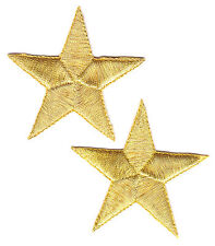 """STARS - GOLD METALLIC  2 3/8"""" STARS (2 PIECES) - Iron On Embroidered Patch"""