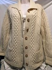 Vintage Ivory Beige Wool Fisherman Cable Heavy Knit Cardigan Sweater Small