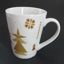 Starbucks Ceramic Coffee Mug Tea Cup White with Beige Trees Snowflakes 2013