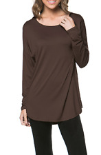 Women's Basic Solid Long Sleeve Round Neck Tunic Soft Jersey Pullover Top Tee