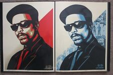 Obey Ice T red & blue prints set by Shepard Fairey signed and matching numbered