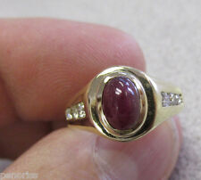 Beautiful  Cabochon Cut Ruby with Diamonds Ring 14k Gold Size 6-1/2   Make Offer