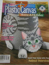 August  2000 Plastic Canvas Home Pattern Book Magazine Rose Treasure Box Cat