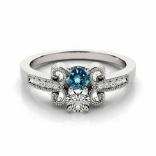 1.097  Carat Blue&White VS2-SI1 2 Diamond Solitaire Engagement Ring 14k WG