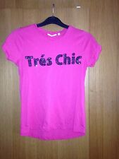 Ladies Pink T Shirt With 'tres Chic' Slogan - Size 6