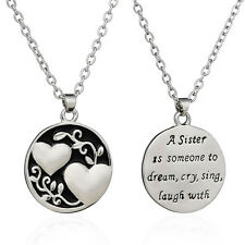 Sweet Sister Tree Two-sided Alloy Pendant Necklace Love Family Gift Jewelary Hot
