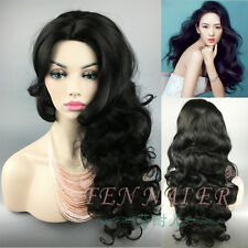 New Sexy pertty Long Black Wavy Synthetic For Women curl Cosplay Party full Wigs