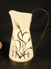 VINTAGE ROYAL SEALY CHINA HANDPAINTED PITCHER W/ GOLD TONE METAL HANDLE & BASE