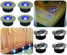 8x Solar Power Blue LED Stainless Steel Decking Deck Outdoor Garden Path Lights