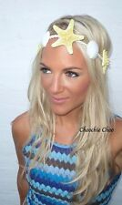 Sea Shell Yellow Real Starfish Hair Head Band Choochie Choo Beach Mermaid Boho