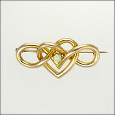 Art Nouveau Circa 1900-1910 9 Carat Gold Heart Opal Brooch/ Pin